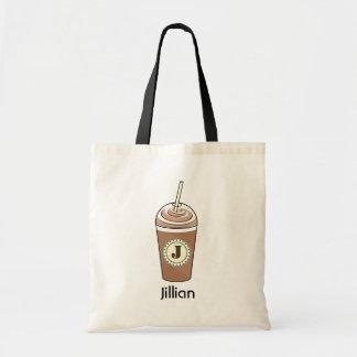 Café glacé à aller de pair avec le monogramme crèm sacs fourre-tout