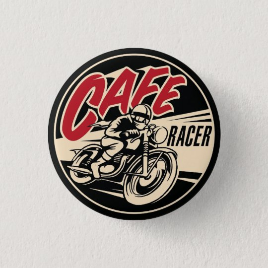 CAFE RACER Chequered Flag Pin Button Badge