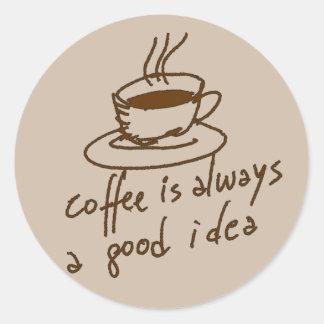caféine pour des amants de café sticker rond