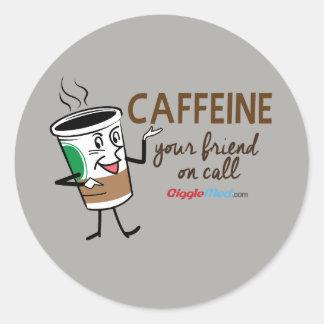 Caféine, votre ami à l'appel sticker rond