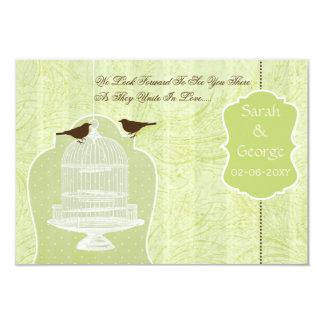 Cage à oiseaux verte chic, inséparables RSVP 3,5 x Cartons D'invitation Personnalisés