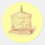 Cage à oiseaux vintage adhésif rond