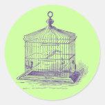 Cage à oiseaux vintage autocollant rond