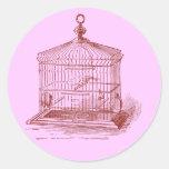 Cage à oiseaux vintage autocollants ronds