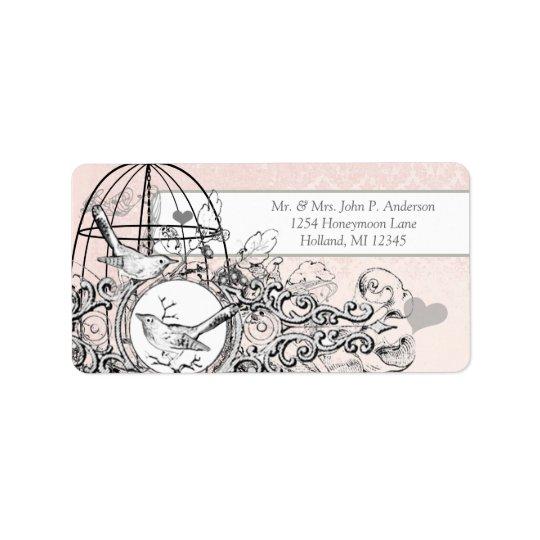 Cage à oiseaux vintage musicale de damassé rose étiquette d'adresse
