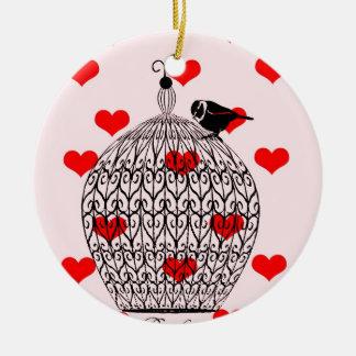 Cage d'amour ornement rond en céramique