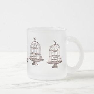 Cages à oiseaux vintages mug en verre givré