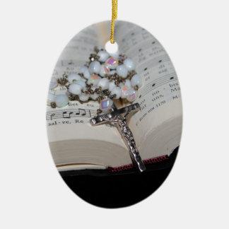 cahier de musique de chapelet ornement ovale en céramique