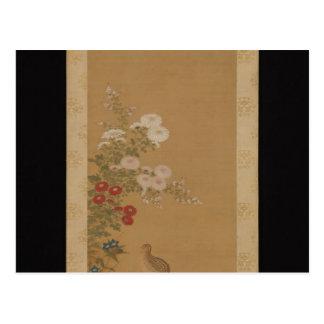 Cailles sous des fleurs d'automne - Japon (période Carte Postale