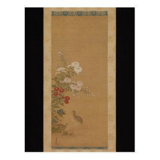 Cailles sous des fleurs d'automne - Japon (période Cartes Postales