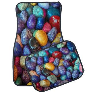 Cailloux colorés et pierres réglés de 4 tapis de tapis de sol