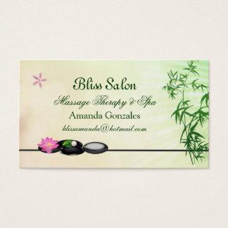 Cailloux noirs, lotus, carte de visite en bambou
