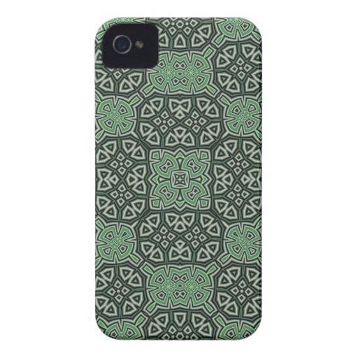 Caisse audacieuse de mûre abstraite verte de motif coque Case-Mate iPhone 4