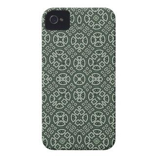 Caisse audacieuse de mûre abstraite verte de motif coque iPhone 4 Case-Mate