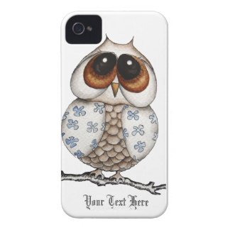 Caisse blanche de Blackberry de hibou floral Coque iPhone 4