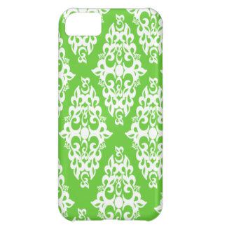 Caisse blanche d'Iphone 5 de vert de damassé Coque iPhone 5C