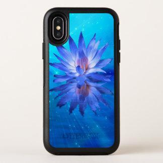 Caisse bleue de l'iPhone X d'OtterBox de nénuphar
