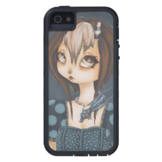 Caisse bleue de téléphone de fille féerique de étui iPhone 5