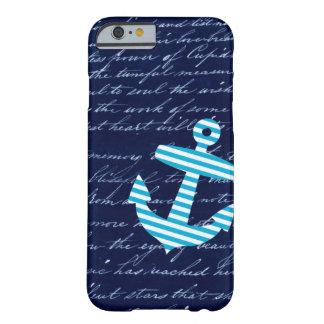 Caisse bleue rayée nautique de l'iPhone 6 d'ancre Coque iPhone 6 Barely There