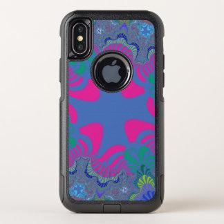 Caisse croisée rose bleue au néon de l'iPhone X