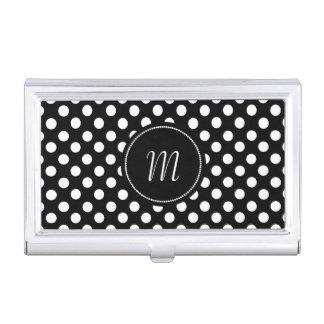 Caisse de carte de visite noire et blanche de pois étui pour cartes de visite