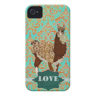 Caisse de damassé d'amour de lama coques iPhone 4