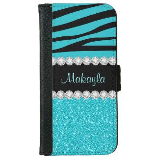 Caisse de portefeuille de l'iPhone 6 de zèbre de