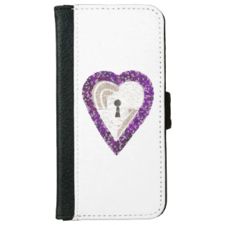 Caisse de portefeuille d'IPhone 6/6s de coeur de