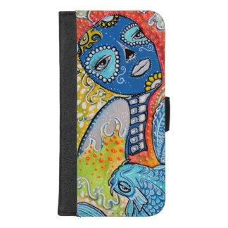 Caisse de portefeuille d'iPhone de crâne de sucre