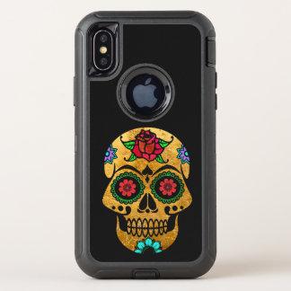 Caisse d'or de l'iPhone X Otterbox de crâne de