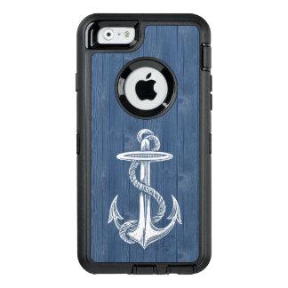 Caisse en bois bleue vintage blanche de téléphone coque OtterBox iPhone 6/6s