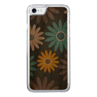Caisse en bois d'Apple de noix mince florale de Coque En Bois iPhone 7
