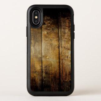 Caisse en bois foncée de l'iPhone X d'OtterBox
