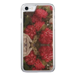 Caisse en bois mince florale rouge d'Iphone Coque Iphone 7 En Bois