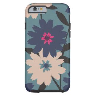 Caisse florale bleue et crème de l'iPhone 6 Coque Tough iPhone 6
