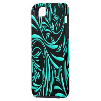 Caisse florale bleue noire de Coque-Compagnon d'Ip Coques iPhone 5 Case-Mate