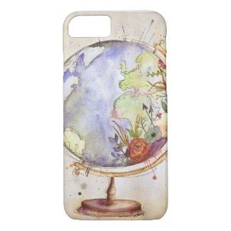Caisse florale de globe d'aquarelle coque iPhone 7