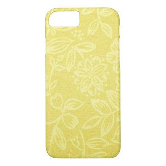 Caisse florale jaune de téléphone portable coque iPhone 7