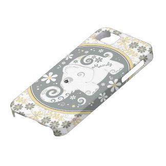Caisse florale jaune grise de l'iPhone 5 d'objet s Coques Case-Mate iPhone 5