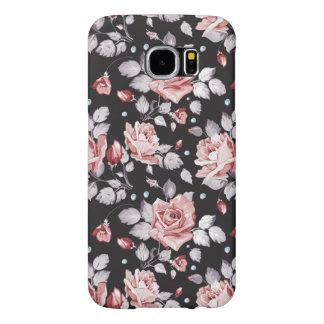 Caisse florale rose vintage de la galaxie S6 de