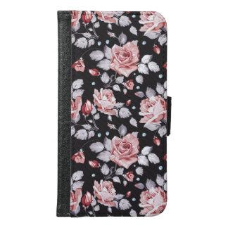 Caisse florale rose vintage de portefeuille de la