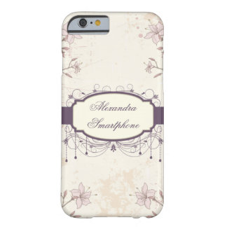 Caisse florale vintage pourpre personnalisée de l' coque barely there iPhone 6