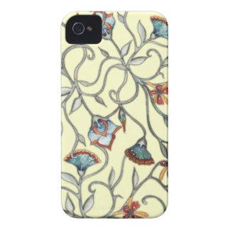 Caisse jaune florale abstraite de Blackberry Coques iPhone 4 Case-Mate