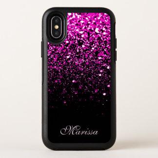 Caisse noire rose élégante de l'iPhone X