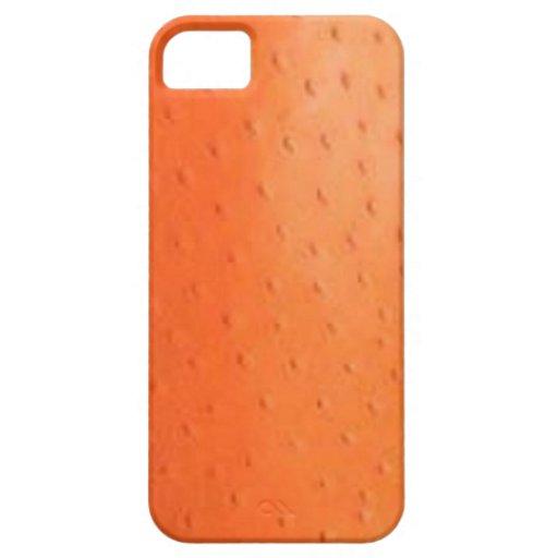 Caisse orange de Coque-Compagnon de peau d'autruch Étuis iPhone 5