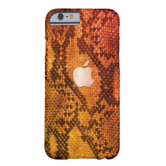 Caisse orange de style de peau de serpent coque iPhone 6 barely there