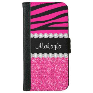 Caisse rose de portefeuille de l'iPhone 6 de zèbre