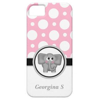 Caisse rose et blanche d'éléphant de polka de poin coque barely there iPhone 5