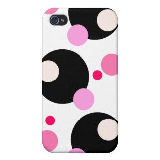 Caisse rose et noire de l'iPhone 4 de points Étuis iPhone 4