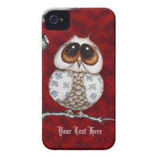 Caisse rouge de Blackberry de hibou floral Étuis iPhone 4
